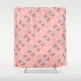 silver pink glittered shiny stars pattern Shower Curtain