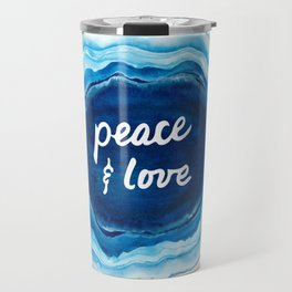 Peace and Love Blue Geode Travel Mug