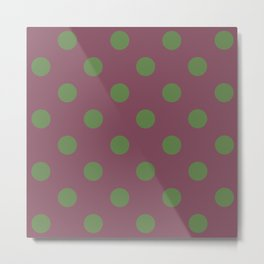 Green and Pink Polka dots Metal Print