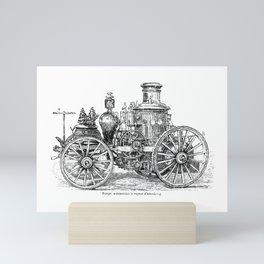 Antique Steam-Powered Fire Engine Illustration Mini Art Print
