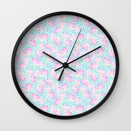 Lipstick Pink Roses and Butterflies Wall Clock