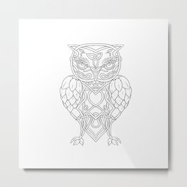 Hops and Barley Owl Celtic Knotwork Metal Print