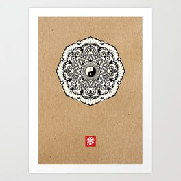 Taoist Mandala Black and White Kraft Art Print