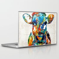 nba Laptop & iPad Skins featuring Colorful Cow Art - Mootown - By Sharon Cummings by Sharon Cummings