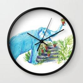 Blue elephant and succulents Watercolor Art Wall Clock