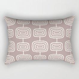 Mid Century Modern Atomic Rings Pattern Beige Rectangular Pillow