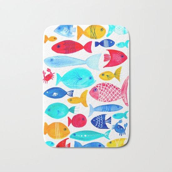 Fish Pattern - Ocean - Nautical - Sea - Swim - Crabs - Summer Bath Mat