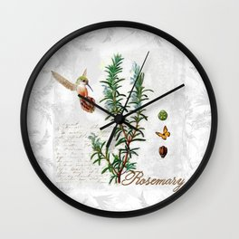 Cottage Style Rosemary, Hummingbird, Butterfly, Herbal Botanical Illustration Wall Clock