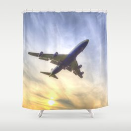 Boeing 747 Sunset  Shower Curtain