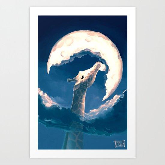 La fable de la girafe Art Print