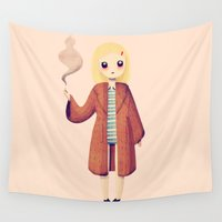 wes anderson Wall Tapestries featuring Margot by Nan Lawson