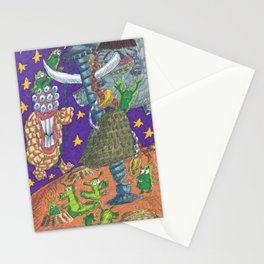 Alien May Day & Fire  Frogs Stationery Cards
