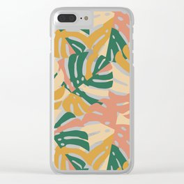Monstera Leaves - Gold - Green - Pink Clear iPhone Case