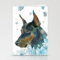 doberman Stationery Cards featuring Blue Doberman by Parmelyn