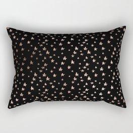 Black & Rose Gold Star Pattern Rectangular Pillow