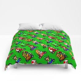 Super Mario Kart funny pattern (SNES) | green grass Comforters