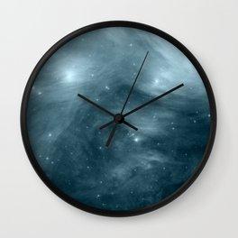 Galaxy : Pleiades Star Cluster NeBula Steel Blue Wall Clock