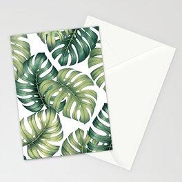 Monstera botanical leaves illustration pattern on white Stationery Cards