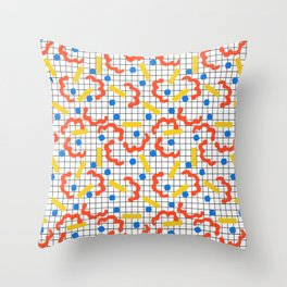 Primal - memphis throwback squiggle circle geometric grid lines dots trendy hipster 80s retro cool Throw Pillow