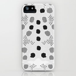 Jordan - black and white grey minimal modern dorm college trendy abstract painting dots brushstrokes iPhone Case