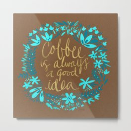 Coffee on Kraft Metal Print