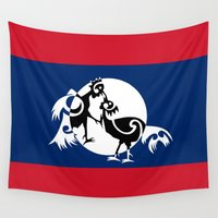 politics Wall Tapestries featuring Laos, Roosters Sparring by mailboxdisco