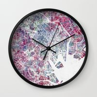 tokyo Wall Clocks featuring TOKYO by MapMapMaps.Watercolors