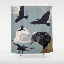 Invasion of the Crows Shower Curtain