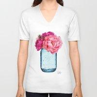 rose V-neck T-shirts featuring Perfect Mason  by Xchange Art Studio