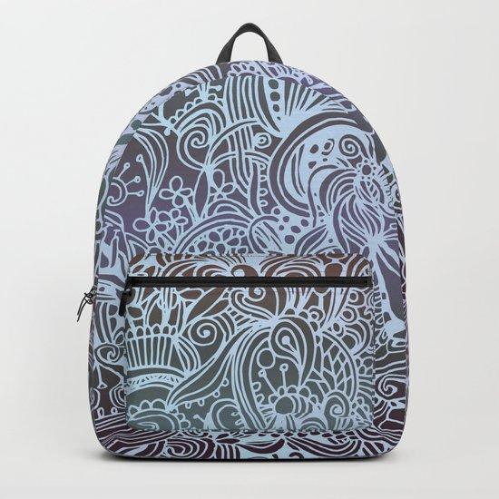 Detailed square, grey'n wedgwood Backpack