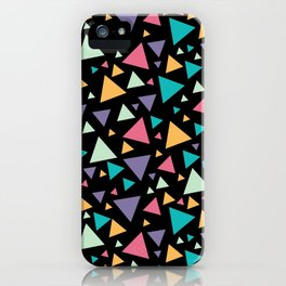 Memphis Milano style pattern with colorful triangles, multicolor triangle pattern print iPhone Case