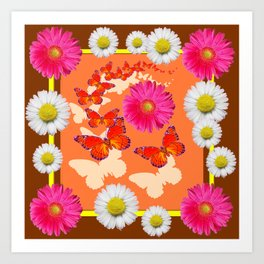 Chocolate Brown Fuchsia Pink Daisies Butterfly Art Art Print