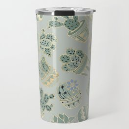 Mint green black faux gold cactus floral Travel Mug