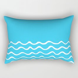Simple aqua and white handrawn waves 1 - for your summer on #Society6 Rectangular Pillow
