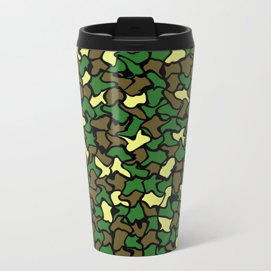 Camouflage Wobble Tile Pattern Metal Travel Mug