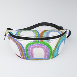 Watercolor Macrame Happy Rainbows in White Fanny Pack