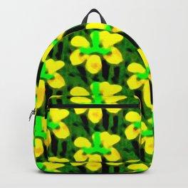 Yellow Flower Bloom Pattern Backpack