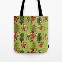 Happy foxes in the forest - Cute Fox Pattern Tote Bag