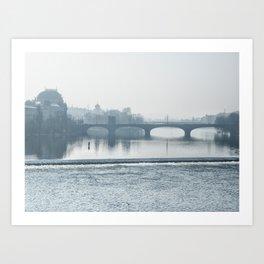 prague - blue morning Art Print