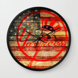 Yankees poster with vintage US flag Wall Clock