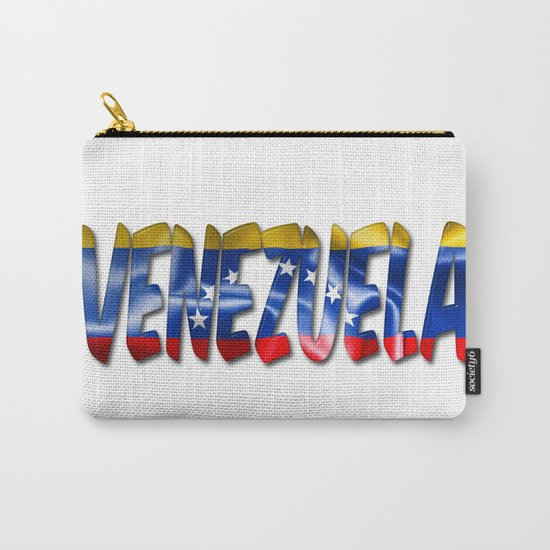 Venezuela Word With Flag Texture Carry-All Pouch