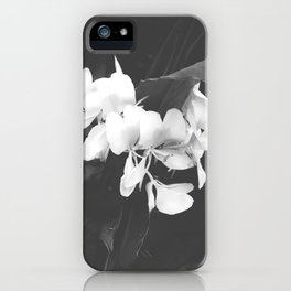 Hedychium Coronarium White Ginger Lily Black and White Photography iPhone Case