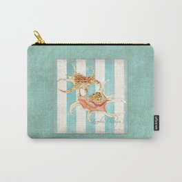 Conch Shell Striped Shabby Beach Cottage Watercolor Illustration Carry-All Pouch