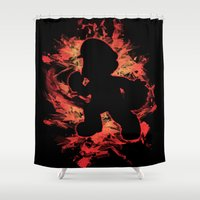 mario bros Shower Curtains featuring Super Smash Bros. Mario Silhouette by Jewl Echo