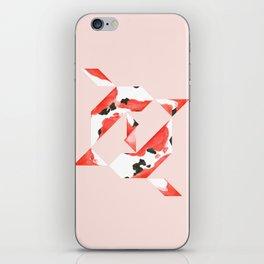 Tangram Koi - Pink background iPhone Skin