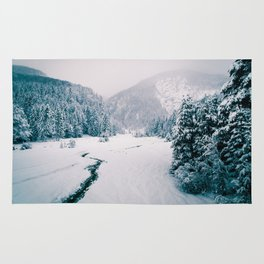 Snowfall in the italian alps Rug