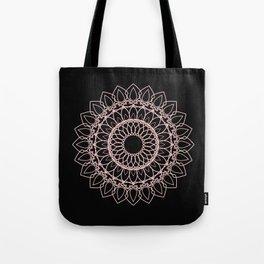 Mandala Black and Blush Pink Tote Bag