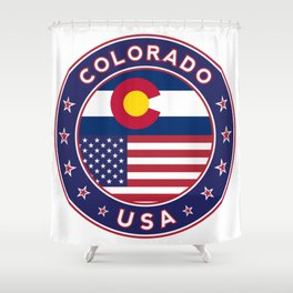 Colorado, Colorado t-shirt, Colorado sticker, circle, Colorado flag, white bg Shower Curtain