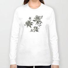 Black Magnolia Pattern Long Sleeve T-shirt