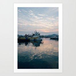 Mediterranean Harbor at Sunset Art Print